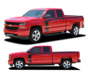 """FLOW : 2016 2017 2018 Chevy Silverado """"Special Edition Rally Style"""" Hood and Side Upper Body Hockey Accent Vinyl Graphic Decal Stripe Kit (PDS-4407)"""