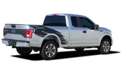TORN : Ford F-150 Side Truck Bed 4X4 Mudslinger Ripped Style Vinyl Graphic Stripes and Decals Kit for 2015 2016 2017 2018 Models (M-PDS-4778)