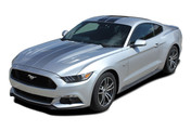 2015 2016 2017 FADE RALLY : Ford Mustang Faded Racing Stripes Fading Hood Vinyl Graphic Ebony Silver Decals (M-PDS4734-41)