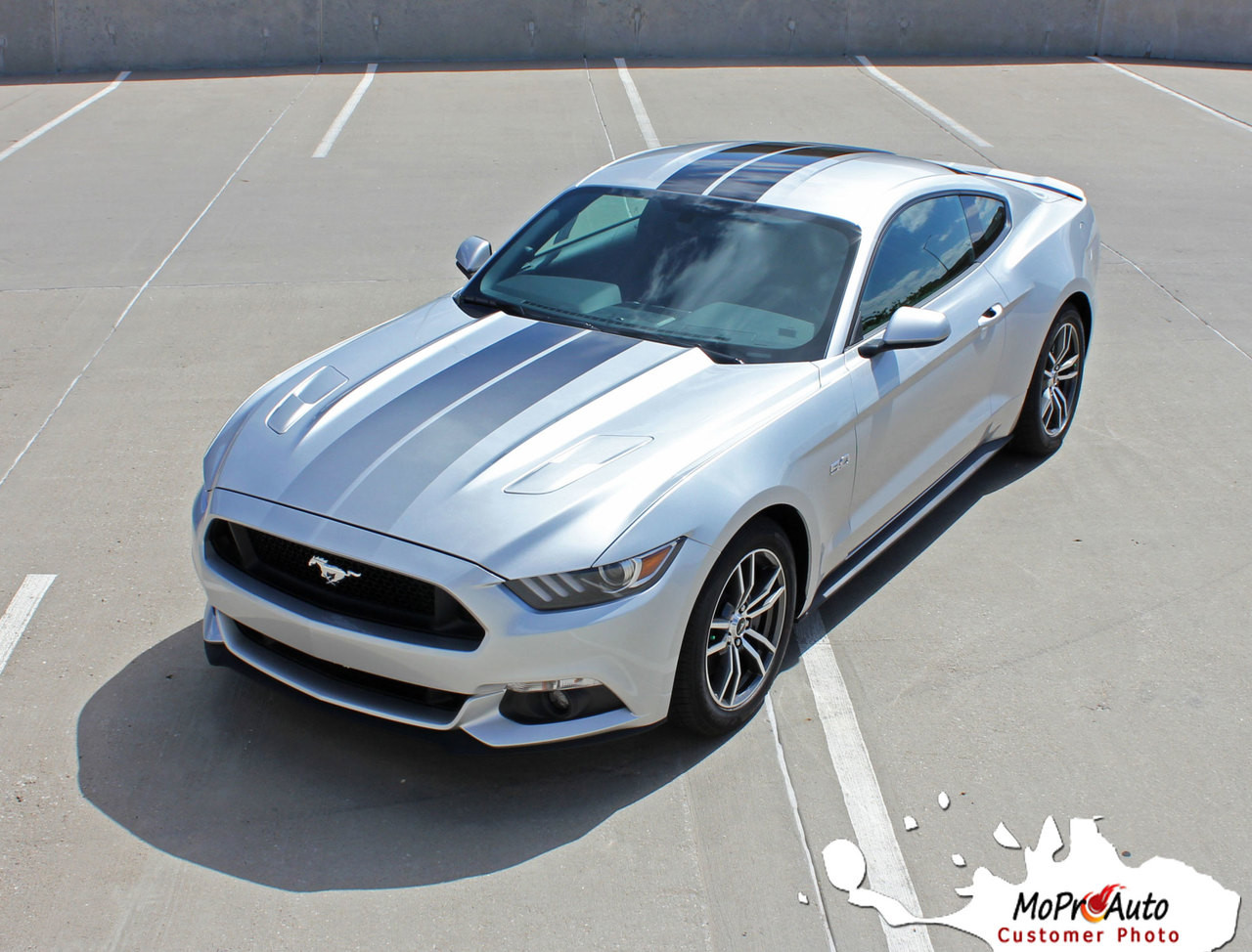 Fade Rally Ford Mustang Faded Racing Stripes Fading Hood Vinyl Graphic Ebony Silver Fading
