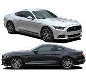 2015 2016 2017 FADE COMBO : Ford Mustang Faded Rocker Panel Stripes and Fading Hood Vinyl Graphic Ebony Silver Decals (M-PDS4742-45)