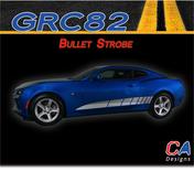 2016-2018 Chevy Camaro Bullet Strobe Stripes Side Door Rocker Vinyl Graphic Decal Kit (M-GRC82)