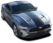EURO XL RALLY : 2018 Ford Mustang Racing Stripes Center Wide Rally Decals Vinyl Graphics Kit (M-PDS-5444)