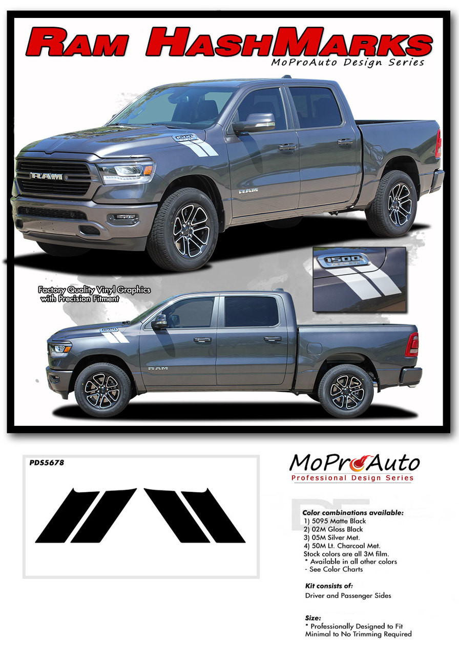 DODGE RAM HASH MARKS Double Bar HASH HOOD MARKS - MoProAuto Pro Design Series Vinyl Graphics and Decals Kit