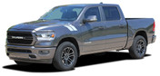RAM HASH MARKS : 2019 Dodge Ram Hood Double Bar Stripes Decals Vinyl Graphics Kit (M-PDS-5648)