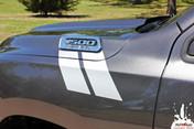 RAM HASH MARKS Double Bar : 2019 2020 Dodge Ram Hood Hash Marks Vinyl Graphics Kit MoProAuto Pro Design Series
