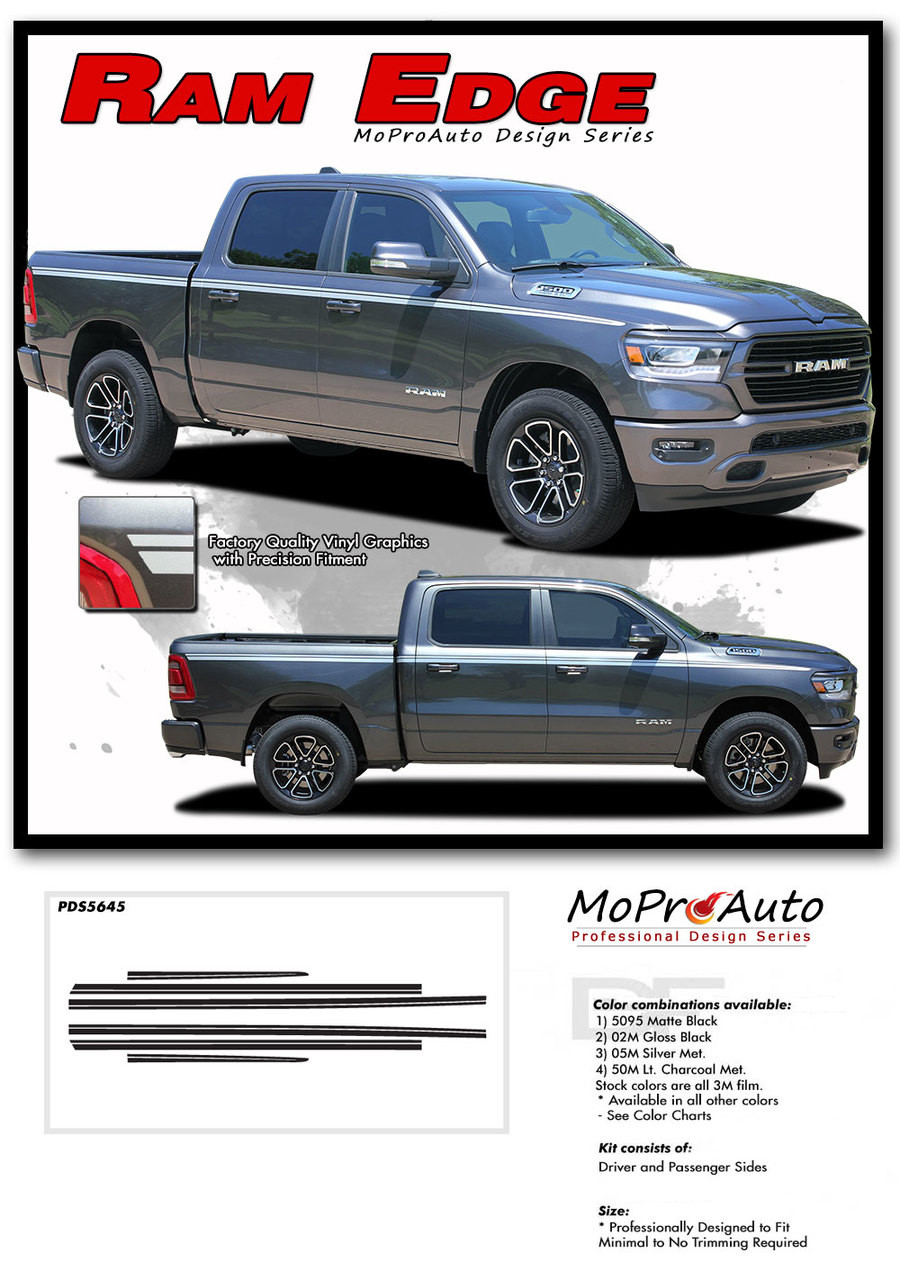DODGE RAM EDGE SIDE BODY STRIPES - MoProAuto Pro Design Series Vinyl Graphics and Decals Kit