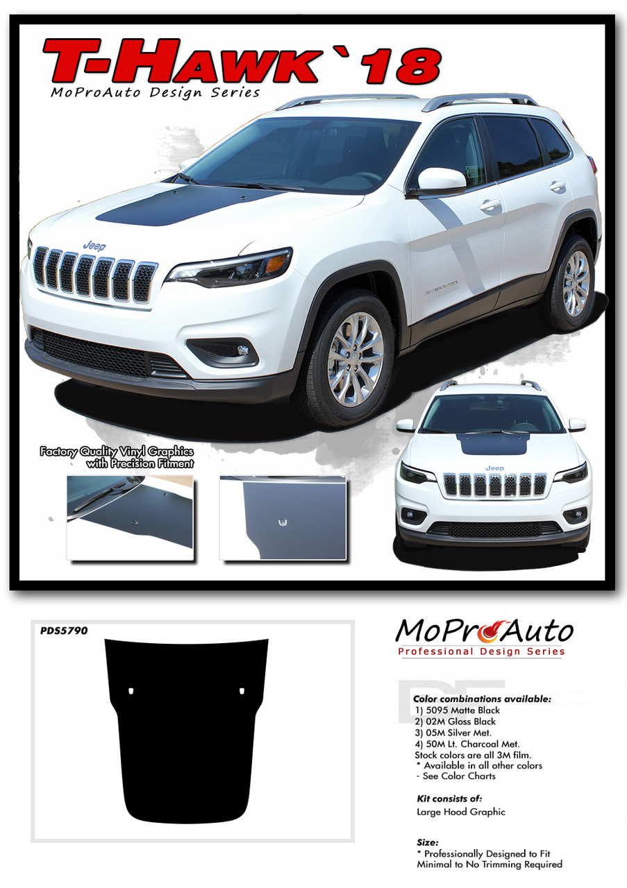 2018 2019 2020 T-HAWK Jeep Cherokee Hood Graphic - MoProAuto Pro Design Series Vinyl Graphics, Stripes and Decals Kit