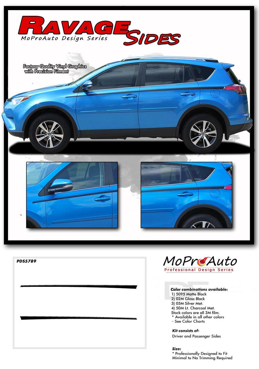 Ravage Sides Toyota Rav4 Side Door Stripes Vinyl Graphic Accent 2001 Kit 2016 2017 2018 2019 2020 Moproauto Pro Design Series