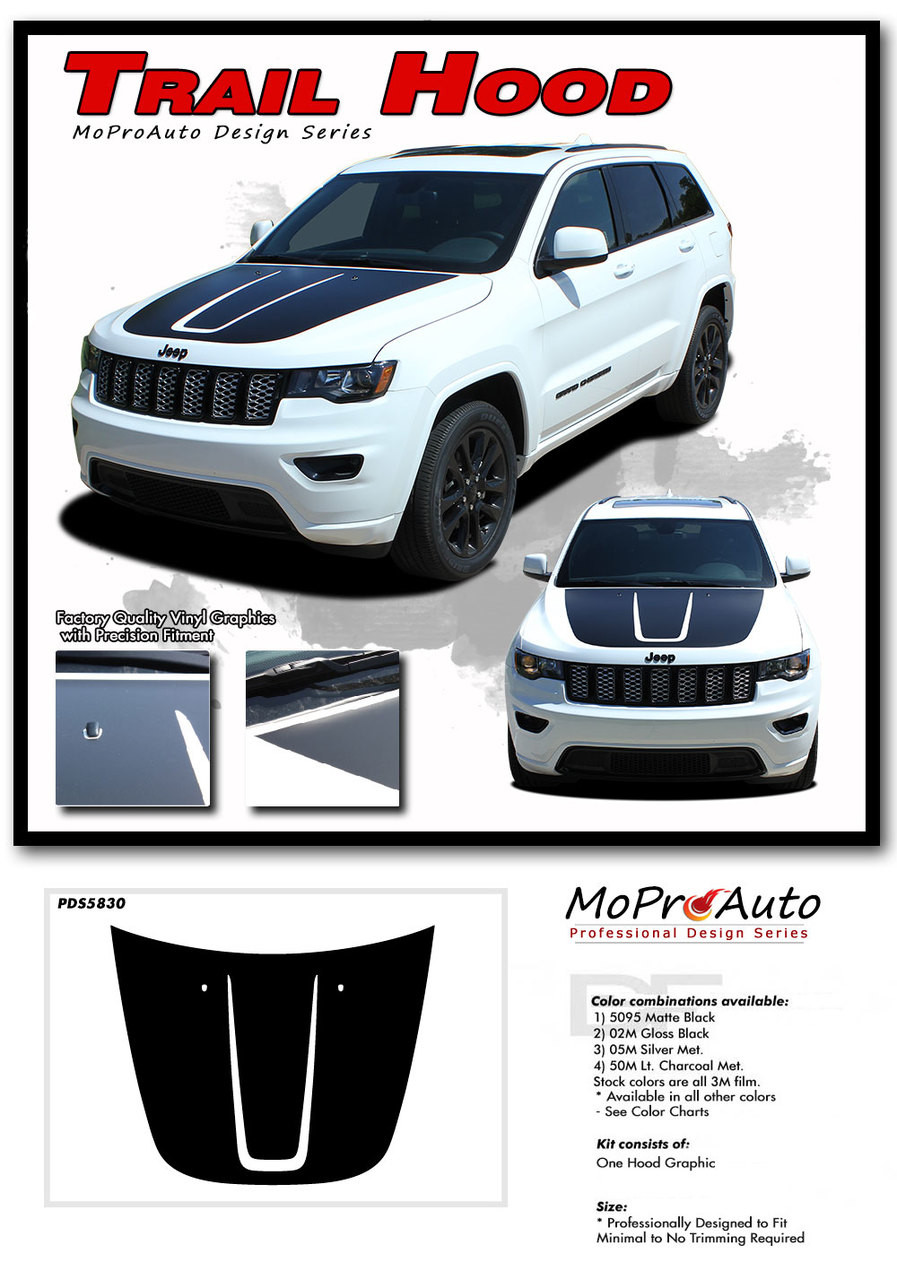 2011 2012 2013 2014 2015 2016 2017 2018 2019 TRAIL HOOD Jeep Grand Cherokee Hood Graphic - MoProAuto Pro Design Series Vinyl Graphics, Stripes and Decals Kit