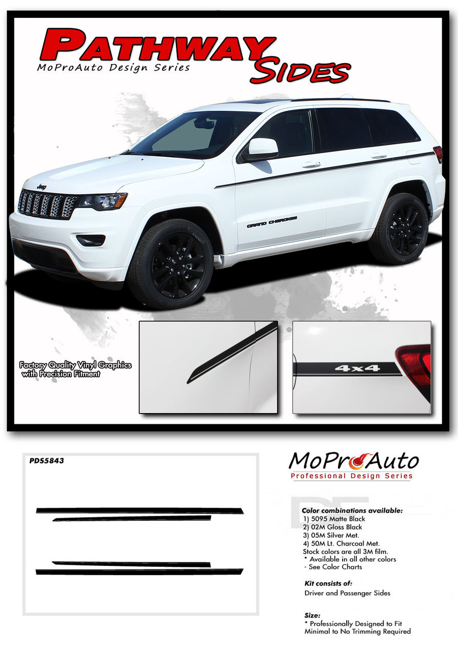 2011 2012 2013 2014 2015 2016 2017 2018 2019 PATHWAY Sides Jeep Grand Cherokee Door Graphic - MoProAuto Pro Design Series Vinyl Graphics, Stripes and Decals Kit