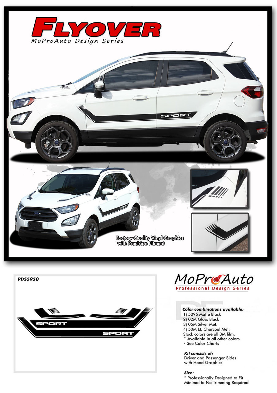 2013 2014 2015 2016 2017 FLYOVER Ford EcoSport - MoProAuto Pro Design Series Vinyl Graphics, Stripes and Decals Kit