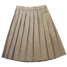Girls Knife Pleat Skirt - Khaki Only