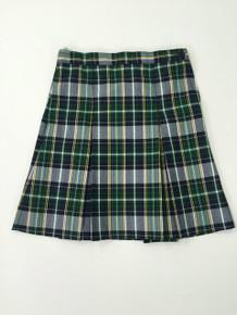 Girls Skirt - Center Box Pleat in Plaid 1B- AOP