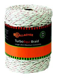 Gallagher Turbo Equi Braid Electric Fence 656ft White or Green
