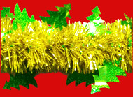 Green Holographic (sparkle finish) Christmas Trees on Gold Tinsel