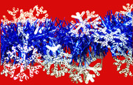 Frosted Snow Flakes on Blue Tinsel