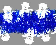 White Shiny Snowman on Blue Tinsel