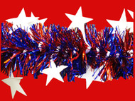 Shinny White Stars on Blue & Red Tinsel