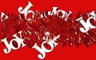Shinny White JOY's on Red Tinsel