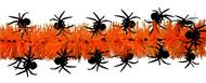 Shinny Black Spiders on Orange Tinsel
