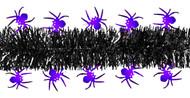 Shinny Purple Spiders on Black Tinsel