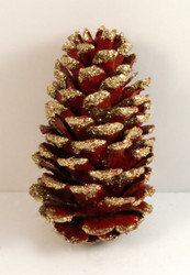 Red Slash Pine Cones with Gold Glitter Tips (approx 100/case)