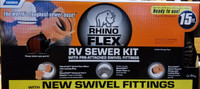 Rhino FLEX 39761 15' RV Sewer Hose Kit w/4N1, Elbow, Cap