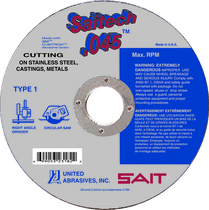 UAI Cutoff Wheel 4-1/2x.045x7/8 TY1 Stainless Saitech - 23174