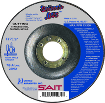 UAI Cutting Wheel 4-1/2x.045x7/8 TY27 Stainless Saitech - 22072