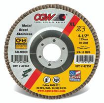 CGW Flap Disc 4-1/2x5/8-11 T29 Z3 Reg 40 Grit Zirconia - 42332