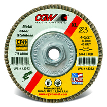 CGW Flap Disc 4-1/2x5/8-11 T29 Z3 XL 40 Grit Zirconia - 42372