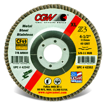 CGW Flap Disc 4-1/2x7/8  T29 Z3 XL 80 Grit Zirconia - 42365