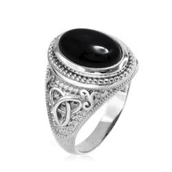 White Gold Celtic Knot Black Onyx Statement Ring