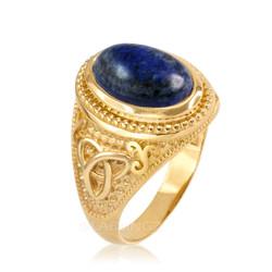 Yellow Gold Celtic Knot Lapis Lazuli Gemstone Statement Ring