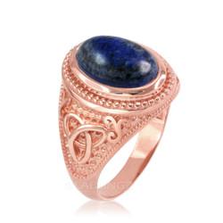 Rose Gold Celtic Knot Lapis Lazuli Gemstone Statement Ring