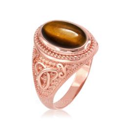 Rose Gold Celtic Knot Tiger Eye Gemstone Statement Ring