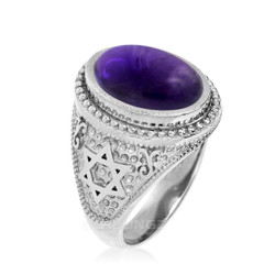 White Gold Star of David Purple Amethyst Statement Ring
