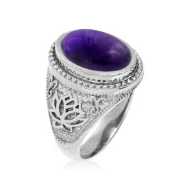 White Gold Lotus Yoga Mantra Oval Amethyst Statement Ring