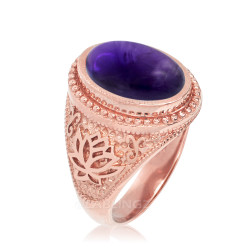 Rose Gold Lotus Yoga Mantra Oval Amethyst Statement Ring