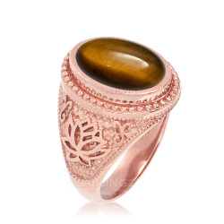 Rose Gold Lotus Yoga Mantra Tiger Eye Gemstone Statement Ring