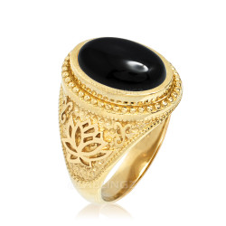 Gold Lotus Yoga Mantra Black Onyx Statement Ring