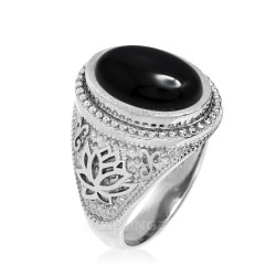 White Gold Lotus Yoga Mantra Black Onyx Statement Ring
