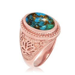 Rose Gold Lotus Yoga Mantra Blue Copper Turquoise Statement Ring