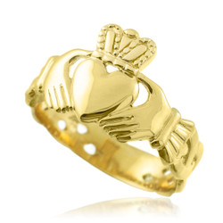 Gold Mens Claddagh Trinity Celtic Band Ring