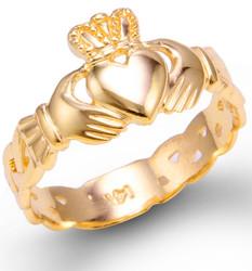 Gold Ladies Claddagh Trinity Band Ring