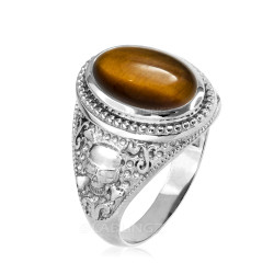 White Gold Skull and Bone Tiger Eye Statement Ring.