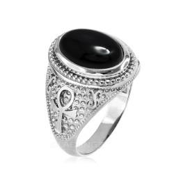 Sterling Silver Egyptian Ankh Cross Black Onyx Statement Ring