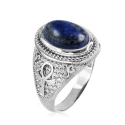 White Gold Egyptian Ankh Cross Lapis Lazuli Statement Ring.