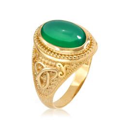 Yellow Gold Celtic Trinity Green Onyx Gemstone Ring